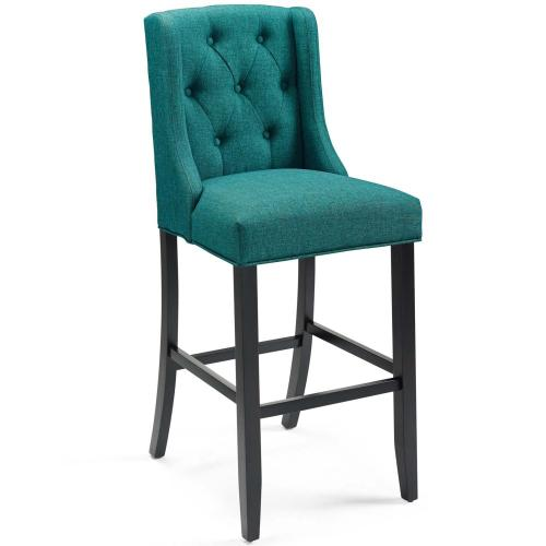 Baronet Tufted Button Upholstered Fabric Bar Stool in Teal