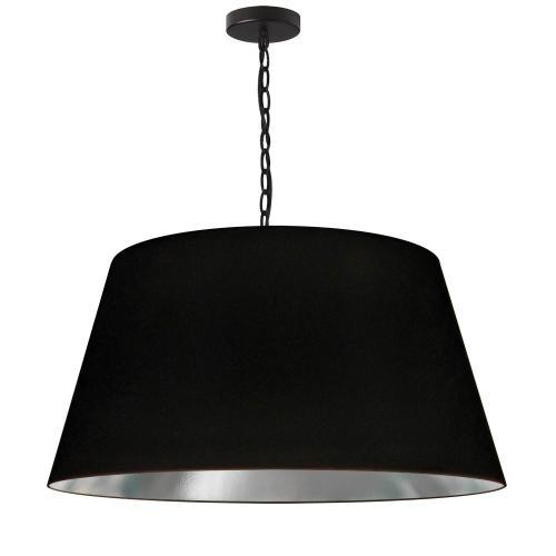 1lt Brynn Large Pendant, Blk/sv Shade, Black