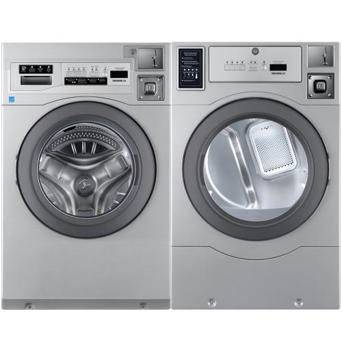 Crossover True Commercial Laundry - 3.5 CF Heavy Duty Front Load Washer, Coin Option Included/Card Ready, Silver, 27""