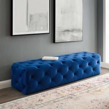 "Amour 72"" Tufted Button Entryway Performance Velvet Bench in Navy"