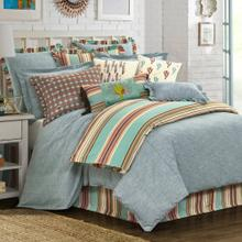 Chambray 3-pc Comforter Set, Pale Blue - Full