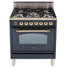 Nostalgie 30 Inch Gas Natural Gas Freestanding Range in Matte Graphite with Brass Trim