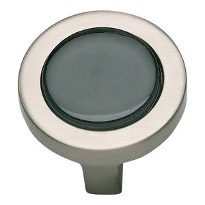Spa Black Round Knob 1 1/4 Inch - Brushed Nickel Product Image