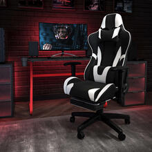 Red Gaming Desk and Black Footrest Reclining Gaming Chair Set with Cup Holder and Headphone Hook