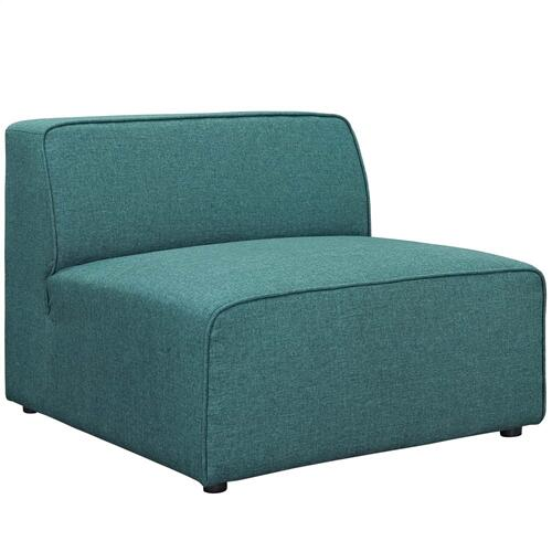Modway - Mingle 5 Piece Upholstered Fabric Armless Sectional Sofa Set in Teal