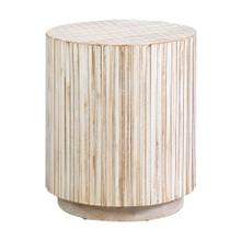 New Hampton Round End Table - White Wash Slats