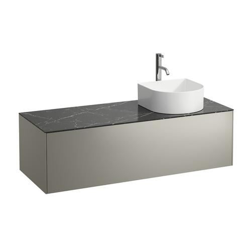 White Matte & Nero Marquina Drawer element, 1 drawer, matching bowl washbasins 812340, 812341, 812342, 812343, cut-out right, incl. drilled tap hole