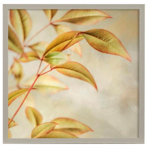 Style Craft - Golden Leaves I  Made in USA  Artist Print  Faux Wood Frame Under Glass  Attached Hanging Hardwa
