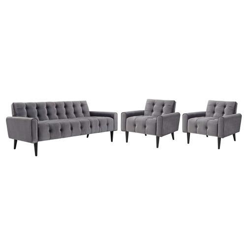 Delve Living Room Set Performance Velvet Set of 3 in Gray