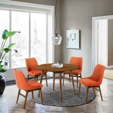 """See Details - Arcadia and Azalea 42"""" Round Orange and Walnut Wood 5 Piece Dining Set"""