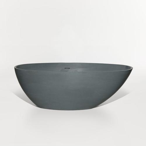"Blu Bathworks - halo blustone™ freestanding oval bathtub White gloss 63""x30""x21 3/4"""