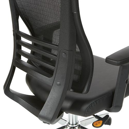 Black Breathable Mesh Back Chair In Black Frame With Bonded Leather Seat and Pu Padded Arms