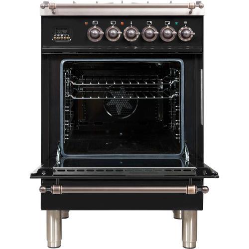 Nostalgie 24 Inch Dual Fuel Liquid Propane Freestanding Range in Glossy Black with Bronze Trim