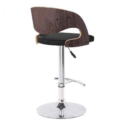 Armen Living Malibu Swivel Barstool in Black Faux Leather with Dark Oak Wood Finish