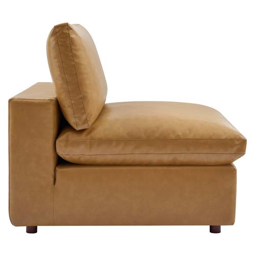 Modway - Commix Down Filled Overstuffed Vegan Leather Armless Chair in Tan