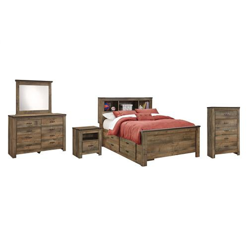 Full Panel Bed With 2 Storage Drawers With Mirrored Dresser, Chest and Nightstand