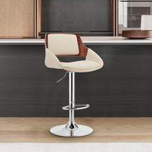 View Product - Colby Adjustable Cream Faux Leather and Chrome Finish Bar Stool