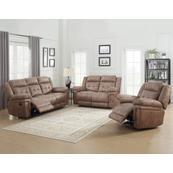 Anastasia Cocoa 3 Piece Motion Set(Sofa, Loveseat & Chair)