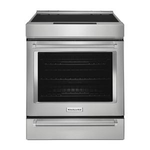 KitchenAid30-Inch 4-Element Induction Slide-In Convection Range with Baking Drawer - Stainless Steel
