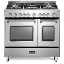 """View Product - Stainless Steel 36"""" Gas Double Oven Range - Prestige Series"""