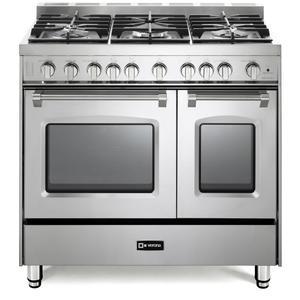 "VeronaStainless Steel 36"" Gas Double Oven Range - Prestige Series"
