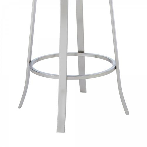 """Armen Living - Pia Contemporary 30"""" Bar Height Barstool in Brushed Stainless Steel Finish and Grey Faux Leather"""
