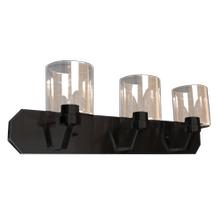 Paris 3-Light Vanity- Matte Black Finish- Clear Cylinder Glass