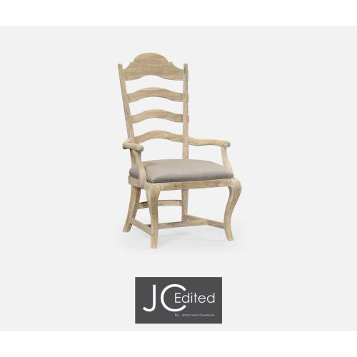 Limed Acacia Dining Armchair, Upholstered in MAZO