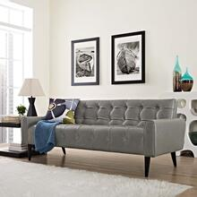 Delve Upholstered Vinyl Sofa in Gray