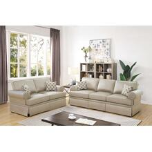 Martina 2pc Loveseat & Sofa Set, Beige-glossy