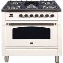 Nostalgie 36 Inch Dual Fuel Natural Gas Freestanding Range in Antique White with Bronze Trim