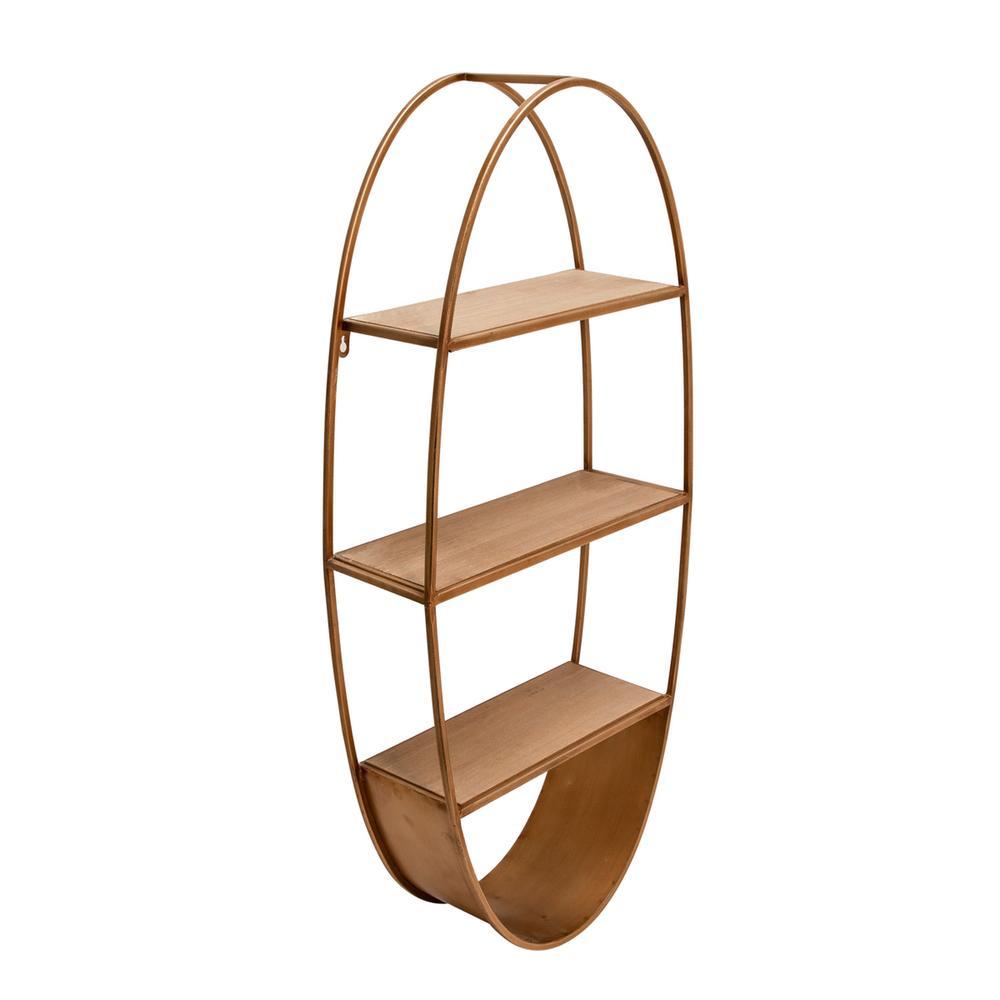 "See Details - Oval 36"" Wood/metal Wall Shelf, Bronze"