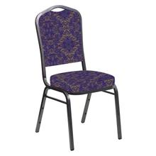 Crown Back Banquet Chair in Watercolor Jazz Fabric - Silver Vein Frame