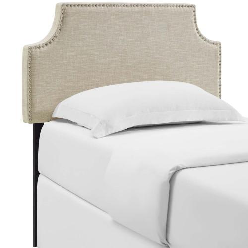 Laura Twin Upholstered Fabric Headboard in Beige