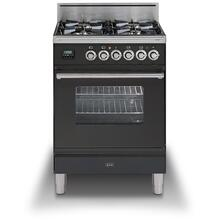 "24"" Professional Plus Series Freestanding Single Oven Gas Range with 4 Sealed Burners in Matte Graphite"