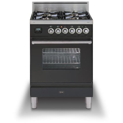 """Ilve - 24"""" Professional Plus Series Freestanding Single Oven Gas Range with 4 Sealed Burners in Matte Graphite"""