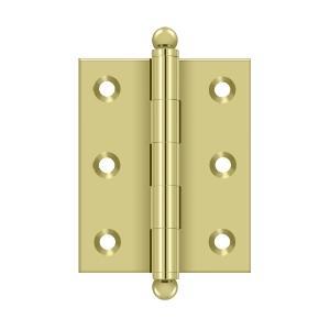 "Deltana - 2-1/2"" x 2"" Hinge, w/ Ball Tips - Unlacquered Brass"
