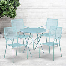 "Commercial Grade 30"" Round Sky Blue Indoor-Outdoor Steel Folding Patio Table Set with 4 Square Back Chairs"