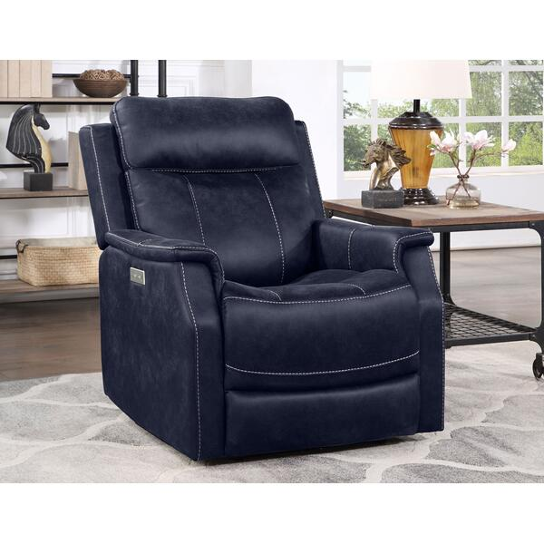 Valencia Dual-Power Leatherette Recliner, Ocean Blue