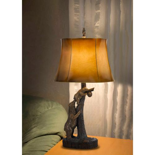 150W 3 Way Bear Resin Table Lamp With Leathrette Shade