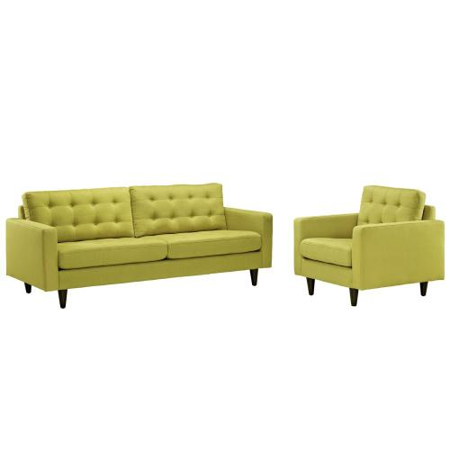 Modway - Empress Armchair and Sofa Set of 2 in Wheatgrass