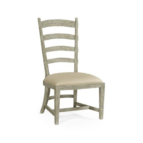 Greyed oak fireside side chair, upholstered in Mazo