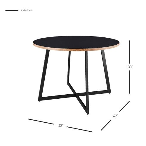 """Courtdale KD 42"""" Round Table, Black"""
