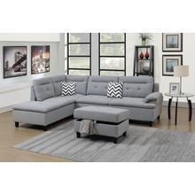 Aerli 3pc Sectional Sofa Set, Grey