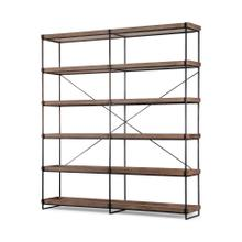 Trey IV 80L x 16W x 87.5H Medium Brown Wood and Iron Five Tray Shelf Shelving Unit