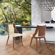View Product - Aniston Cream Faux Leather and Walnut Wood Dining Chairs - Set of 2