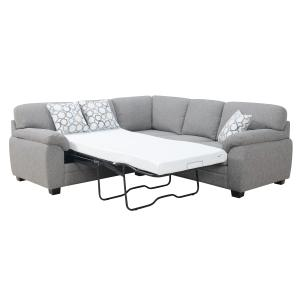 Emerald Home Furnishings - 2pc Rsf Corner Sofa-lsf Twin Sleeper W/2 Accents Pillows Gray #brentwood-16e