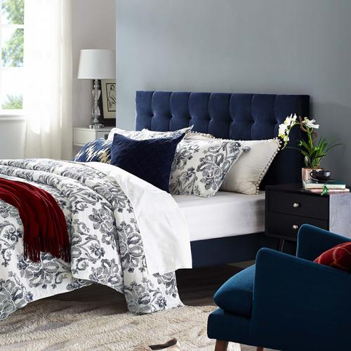 Modway - Paisley Tufted King and California King Upholstered Performance Velvet Headboard in Midnight Blue