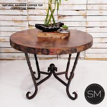 """Large Occasional Table Nightstand Cynosure Round Natural - Natural Hammer Cppper / 31""""Rd / Dark Rust Brown"""