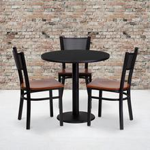 Product Image - 30'' Round Black Laminate Table Set with 3 Grid Back Metal Chairs - Cherry Wood Seat